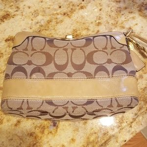 Coach striped interior small purse wristlet hand